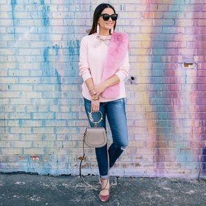 J. Crew Wool Blend Pink Gayle Tie Neck Sweater